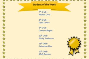 Student of the Week JrSr high