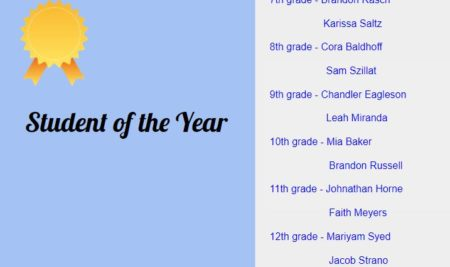 Student of the Year for Jr/Sr High School