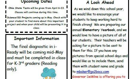 April Elementary Newsletter