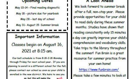 BOSS Elementary May Newsletter